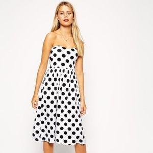 ASOS Strapless Polka Dot Swing Dress
